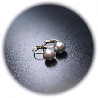 Ohrringe Brisur verschließbar 925er Sterlingsilber Zuchtperle grau - Vorschau 2