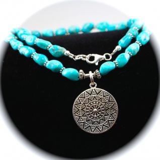 Kette Halskette Türkis Anhänger Sonne 925er Sterlingsilber