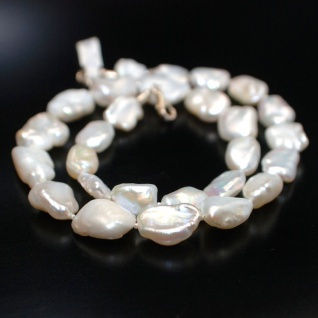 Kette Keshi Perlen Barock Weiß 925er Sterlingsilber