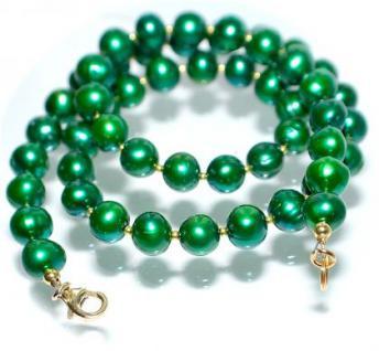 Kette Zuchtperlen smaragdgrün