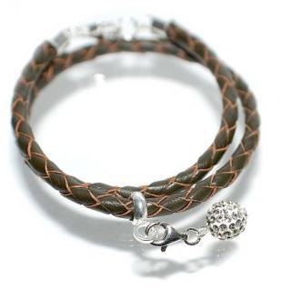 Armband Echtleder Silber
