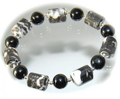 Armband Jaspis Onyx 925er Sterlingsilber