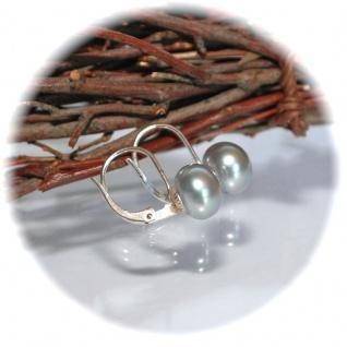 Ohrringe Brisur verschließbar 925er Sterlingsilber Zuchtperle grau - Vorschau 3