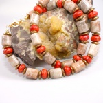 Kette Koralle Fossil 925er Sterlingsilber vergoldet Unikat