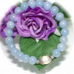 Armband Angelit mit Zuchtperle und 925er Sterlingsilber elastisch
