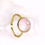 Ring 925er Sterlingsilber vergoldet Rosenquarz