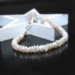 Armband Keshi Perle Weiß 925er Sterlingsilber Unikat