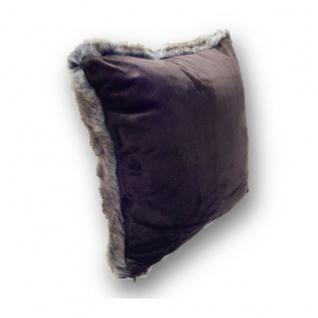 Eskimo Chinchilla Fellimitat Kissen meliert 45 x 45 cm braun / grau - Vorschau 2