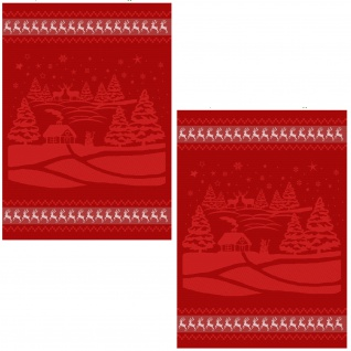 Ross 1816-01 Geschirrtücher 2-er Set 50 x 70 cm Weihnachtsmotive rot Baumwolle