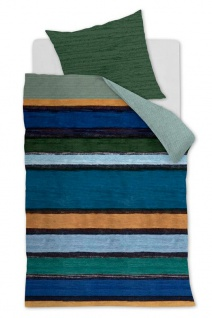 Oilily Baumwollsatin Wendebettwäsche Rustic Lines Blue Green 100 % Baumwolle