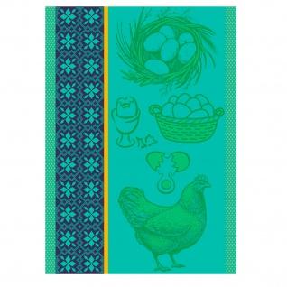 Ross Baumwolle Geschirrtuch 1642-3 mit Huhn und Eier Motiven grün 50 x 70 cm
