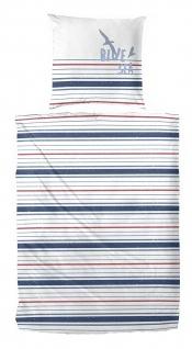 Primera Perkal Bettwäsche Blue Sea weiss /blau 100% Baumwolle maritim
