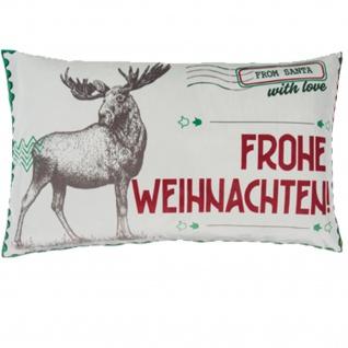 pad Kissenhülle STAMP 35 x 60 cm red Hirsch und Schriftzug gratis Füllung