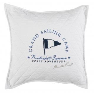 GRAND DESIGN Deko- Kissen SAILING weiss 50 x 50 cm Baumwolle gesteppt nordisch maritim