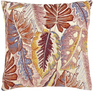 pad Kissenhülle Tropical Blätter 38 x 38 cm mustard Viskose bestickt Blätter