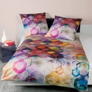 Janine Mako-Satin Bettwäsche Modern Art 42045-09 multicolor 100% Baumwolle