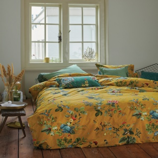 PiP Studio Perkal Bettwäsche Fall in Leaf Yellow aus 100% Baumwolle Blumenmotiv