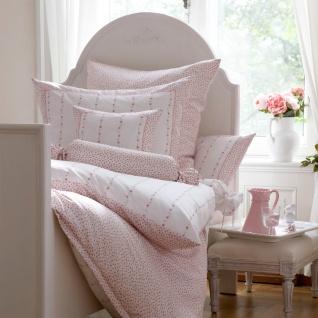 Janine Mako-Seidensatin Bettwäsche Romantico weiß-rosa 100% Baumwolle romantisch