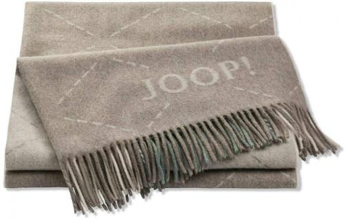 JOOP! Wolle-Kaschmir Plaid Sensual Signature Taupe-Salbei 130 x 180 cm Fransen