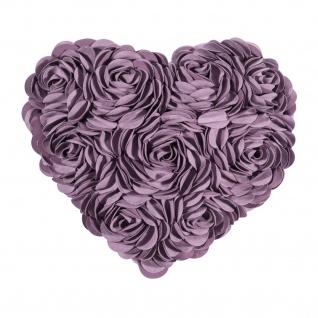 Pad Kissenhülle HEART 34 x 40 cm lilac Rosen-Applikationen Herzform