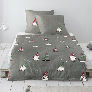 Irisette Biber Bettwäsche Dublin Wichtel silber 8778-11 aus 100% Baumwolle