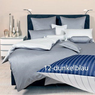 Janine Mako-Satin Bettwäsche modernclassic 3936-12-dunkelblau