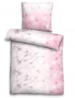 Biberna Seersucker Bettwäsche 23465-111 rosa 100% Baumwolle bügelfrei