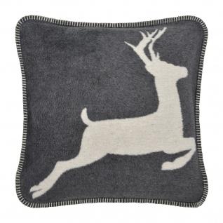 Pad Kissenhülle Hirsch 45 x 45 cm grey mit Reißverschluss und Kissenfüllung