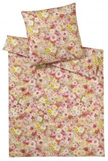 elegante Mako-Satin Bettwäsche Pinto 2260-1 pink-rose Blumenmuster exklusiv