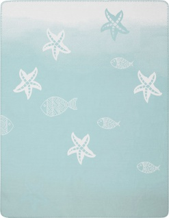 Biederlack Wohndecke Soft Cotton Trend Seaside Starfish 150 x 200 cm aqua- blau