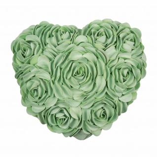 Pad Kissenhülle HEART 34 x 40 cm mint Rosen-Applikationen Herzform