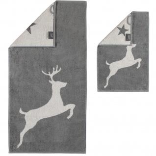 Cawö Frottee Serie 929 -77 Hirsch Christmas Edition schiefer