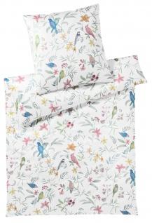 elegante Mako-Satin Bettwäsche 2255-0 Springbirds Blumen und Vögel exklusiv