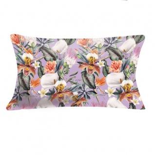pad Kissenhülle Quintana lilac 35 x 60 cm Baumwoll-Leinen exotische Blumen