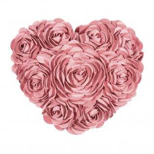 Pad Kissenhülle HEART 34 x 40 cm dusty pink Rosenapplikationen Herzform