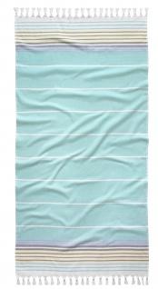 Tom Tailor Strandtuch HAMAM - STEIFEN Aqua 90 x 180 cm gestreift mit Fransen