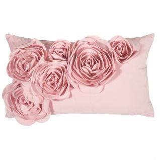 PAD Kissenhülle Floral 30 x 50 cm rose mit Blumen Applikation