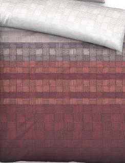 Biberna Baumwollsatin Bettwäsche 636055-537 Streifen-Quadrate rost Baumwolle - Vorschau 2