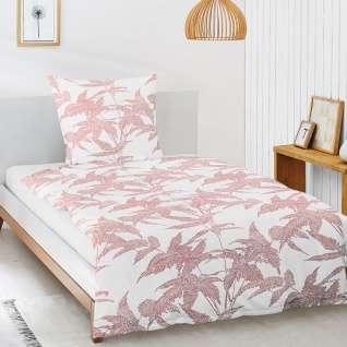 Irisette Mako-Satin Bettwäsche Eos Blätter rot 8009-60 aus 100% Baumwolle