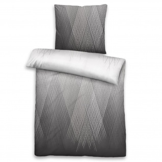 Biberna Baumwoll-Satin Bettwäsche 636080-018 grau 100% Baumwolle geometrisch