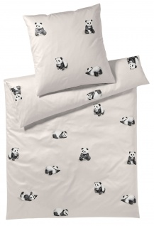 elegante Comfort-Satin Bettwäsche Panda Bär 2328-07 sand 100% Baumwolle