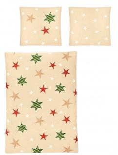 Irisette Edel-Fein- Biber Bettwäsche 8657-90 beige mit Sternen