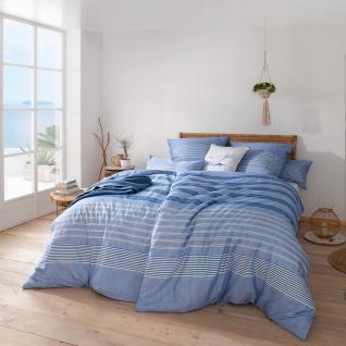 Estella Atelier Mako Satin Bettwäsche Alvar 7495-630 Bleu 100% Baumwolle Streifen