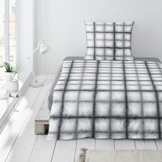 Irisette Jersey Bettwäsche Luna kariert schwarz 8036-11 aus 100% Baumwolle