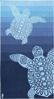 Seahorse - Strandtuch - Badetuch -Turtle / Schildkröte - blau 100 x 180 cm aus 100 % Baumwolle