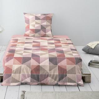 Irisette Biber Bettwäsche Davos geometrisch beere 8015-70 aus 100 % Baumwolle
