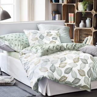 Irisette Bettwäsche Mako-Satin Soll-K 8037-30 grün 100 % Baumwolle florales Muster Blätter