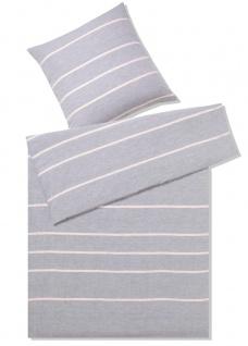 elegante Halbleinen Bettwäsche Relax 7047-09 grau-rose gestreift pflegeleicht - Vorschau 1