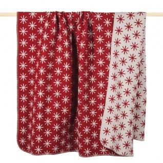 PAD Decke Wohndecke STELLA RED 150 x 200 cm Baumwollmischung Eiskristalle