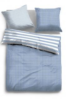 Tom Tailor Baumwolle Bettwäsche 49841-843 blau Karomuster 135 x 200 cm Vichy